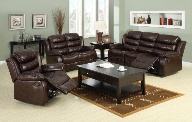 CM65512pc 2 Pc. Classic Berkshire Dark Brown Leather-Like Fabric Reclining Channel Back Sofa and love seat Set