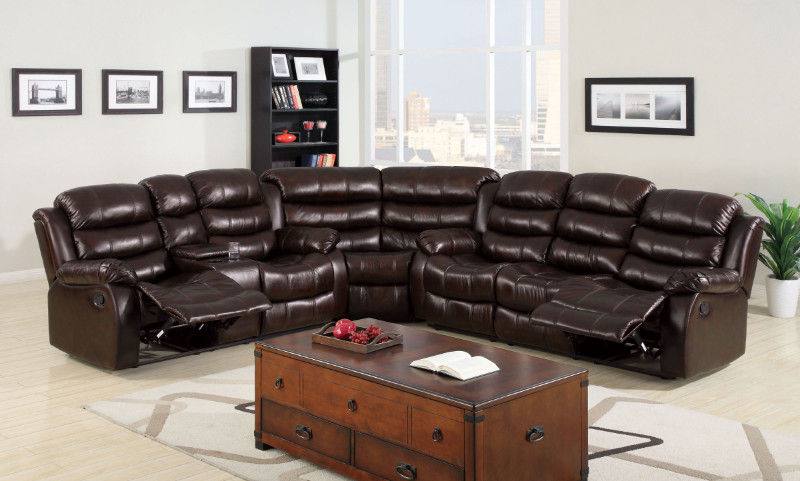 CM6551SEC 3 Pc. Classic Berkshire Dark Brown Leather-Like Fabric Reclining Channel Back Sofa sectional Set