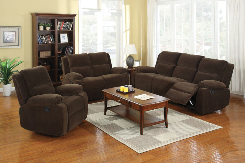 Furniture of america CM6554-3PC 3 pc Haven dark brown flannelette sofa , love seat and recliner set