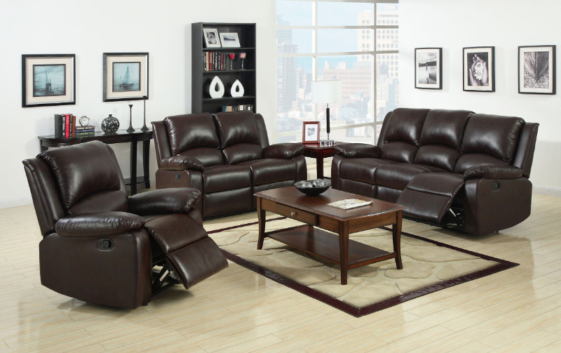 Furniture of america CM6555 2 pc oxford rustic brown leatherette sofa and love seat set with recliner ends