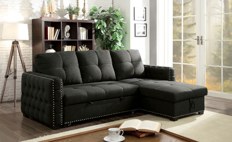 Furniture of america CM6562 2 pc Demi dark gray linen like fabric sectional sofa set