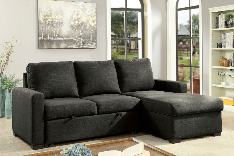 Furniture of america CM6564DG 2 pc Arabella dark gray linen like fabric sectional sofa set
