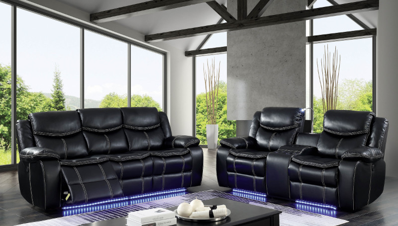 Furniture of america CM6567 2 pc Sirius black breathable leatherette power motion sofa and love seat with recliner ends
