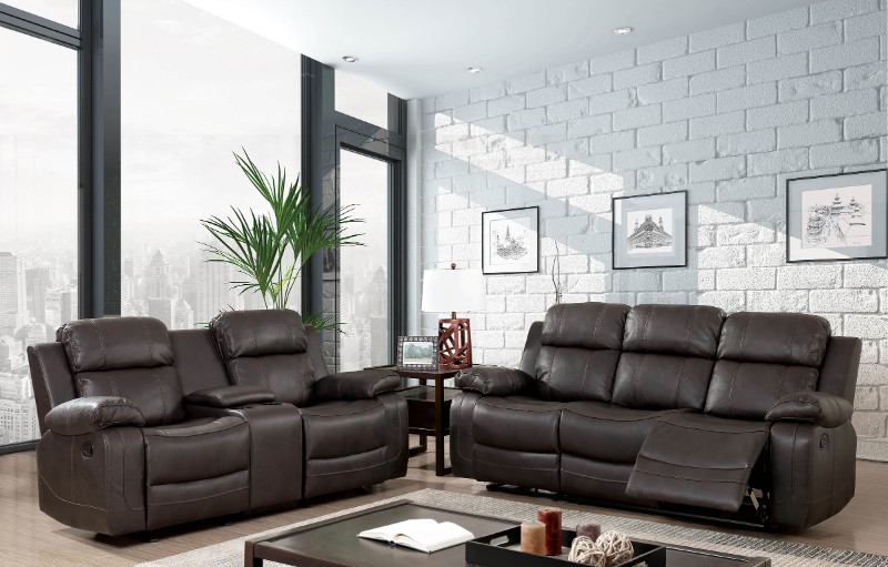 Furniture of america CM568 2 pc Pondera brown breathable leatherette sofa and love seat with recliner end