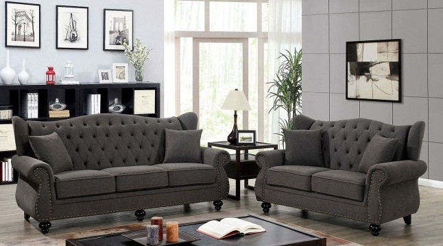 CM6572DG 2 pc Ewloe dark gray linen like fabric sofa and love seat set