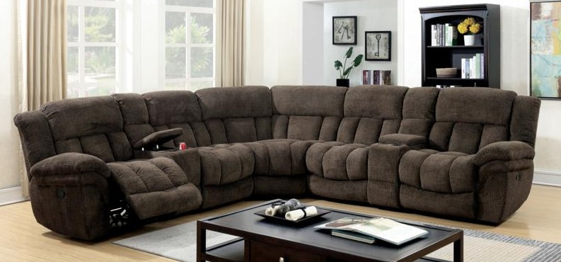 CM6585BR 3 pc Irene brown flannelette fabric sectional sofa with recliner ends