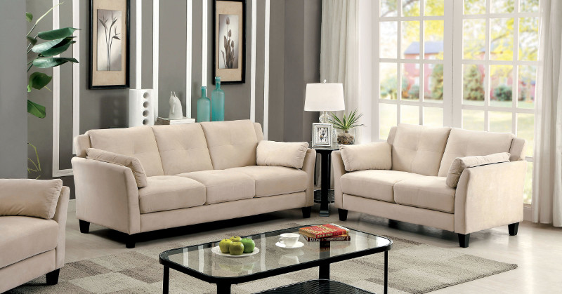 Furniture of america CM6716BG 2 pc ysabel beige flannelette fabric sofa and love seat set