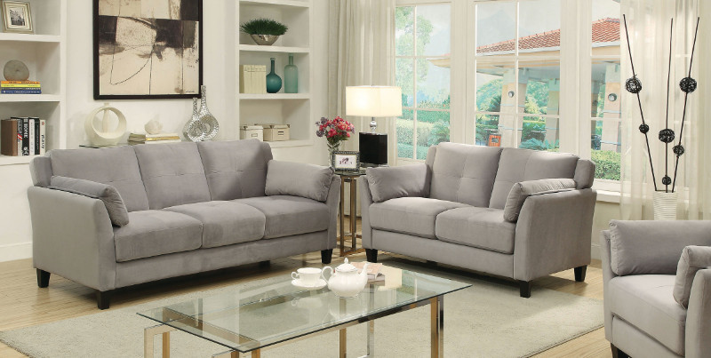 CM6716GY 2 pc Ysabel collection contemporary style gray flannelette sofa and love seat set with tufted back and padded arms