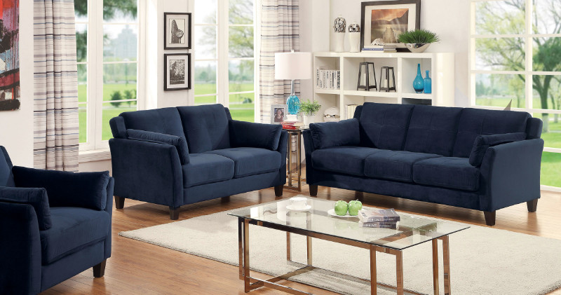 Furniture of america CM6716NV 2 pc ysabel navy flannelette fabric sofa and love seat set