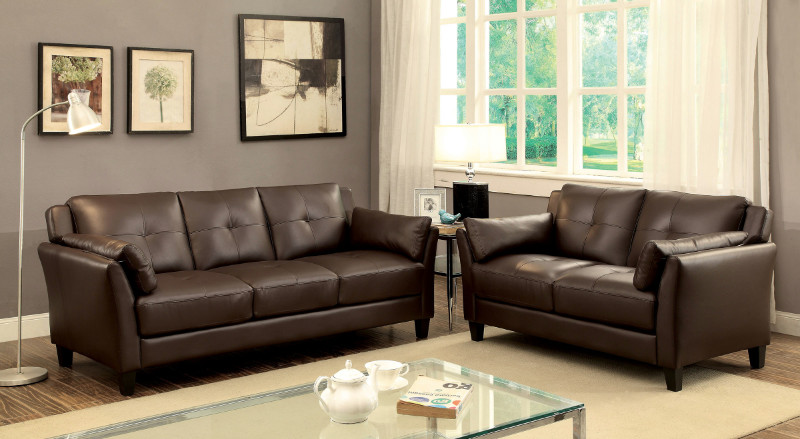Furniture of america CM6717BR 2 pc pierre brown leatherette sofa and love seat set