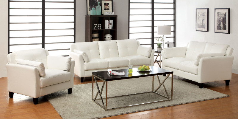 CM6717WH 2 pc Pierre collection contemporary style white leatherette upholstered sofa and love seat with tufted seat and back design and flared arms
