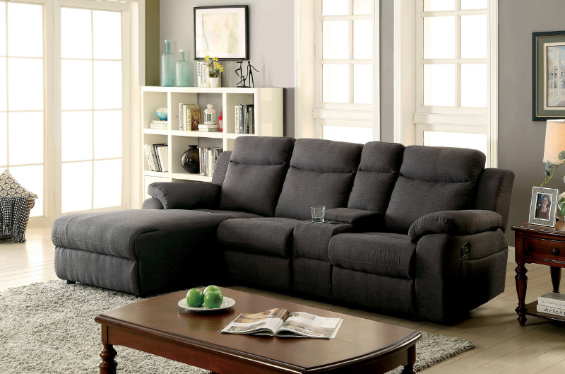CM6771GY 2 pc kamryn grey linen like fabric sectional sofa with chaise and  recliner