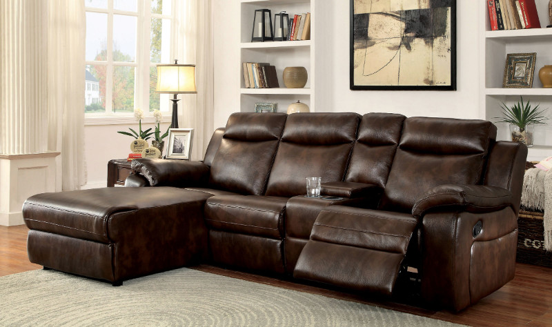 Furniture of america CM6781BR 2 pc hardy brown leatherette sectional sofa with chaise and recliner