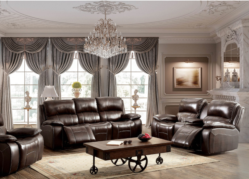 Furniture of america CM6783BR 2 pc ruth brown top grain leather match sofa and love seat with recliners