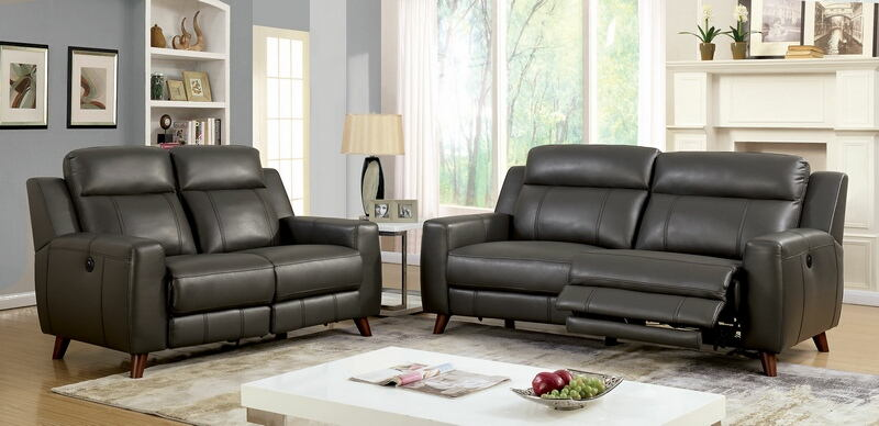 2 pc Rosalynn mid century style gray leather gel upholstered sofa and love seat with power recliner ends