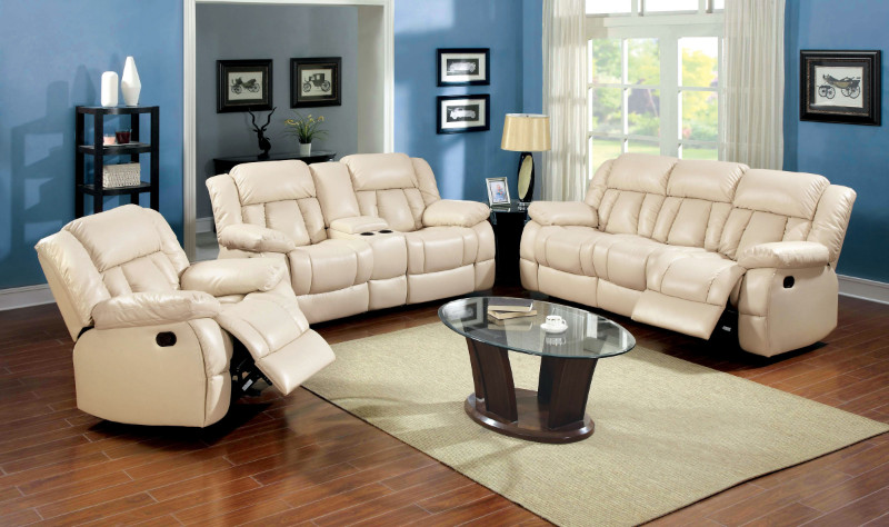 Furniture of america CM6827SL 2 pc barbado ivory bonded leather match sofa and love seat with recliner ends