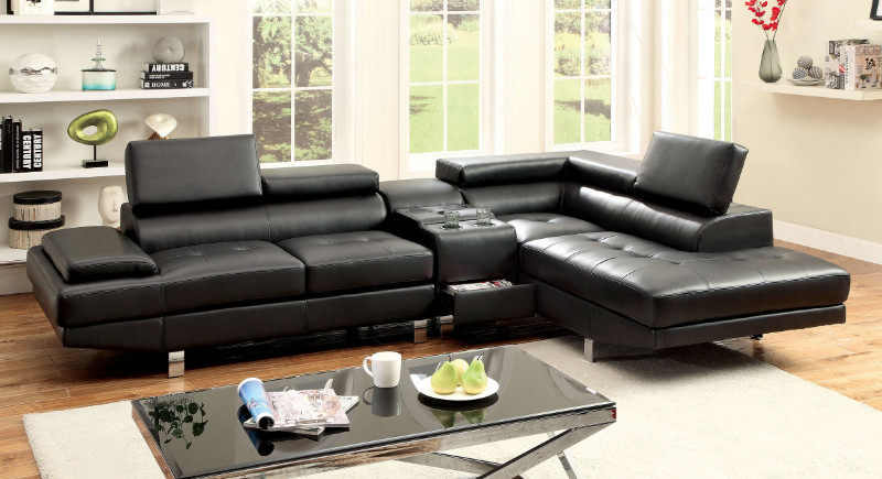 CM6833BK-CS 3 pc Kemina collection modern style black bonded leather match upholstered sectional sofa with blue tooth speaker console with adjustable headrests and tufted seats