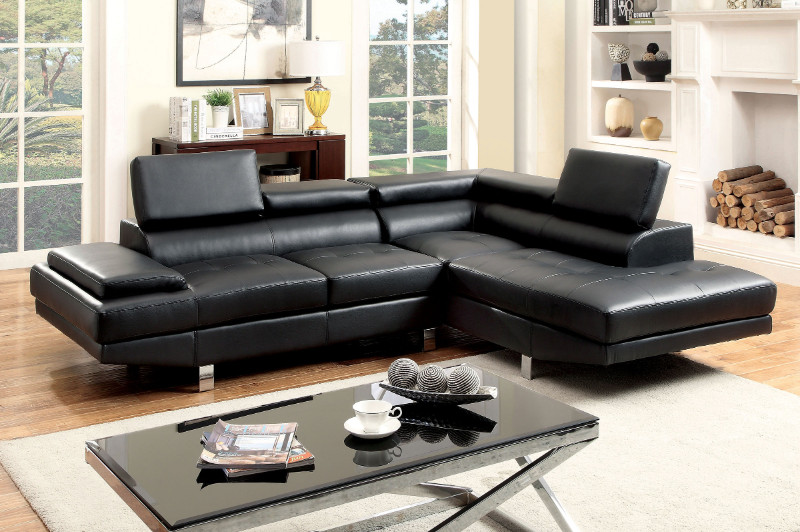 CM6833BK 2 pc Kemina collection modern style black bonded leather match upholstered sectional sofa with adjustable headrests and tufted seats