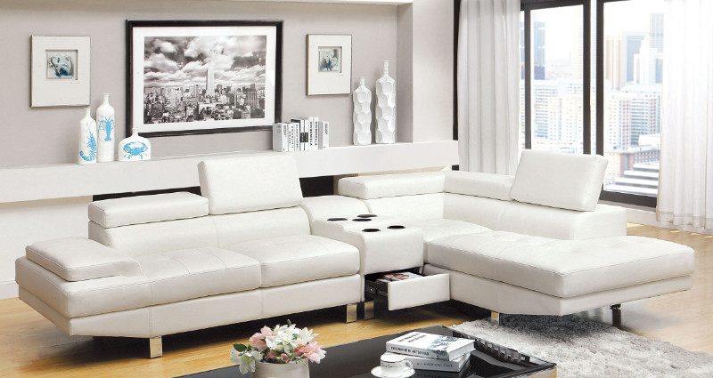 CM6833WH-CS 3 pc Kemina collection modern style white bonded leather match upholstered sectional sofa with blue tooth speaker console with adjustable headrests and tufted seats