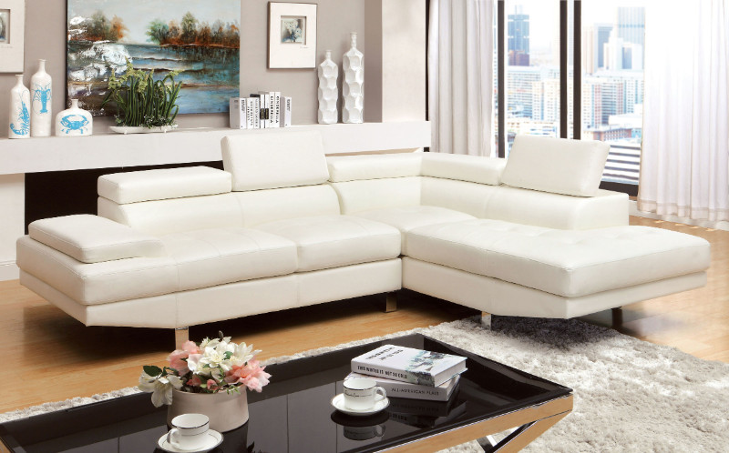 Furniture of america CM6833WH 2 pc kemina white bonded leather match sectional sofa with adjustable headrests
