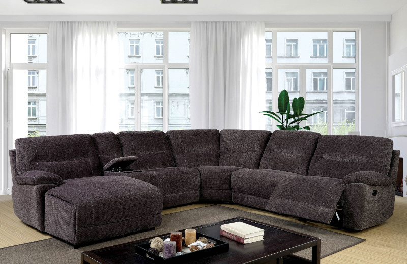 Furniture of america CM6853 6 pc Zuben gray chenille fabric sectional sofa with recliner and chaise