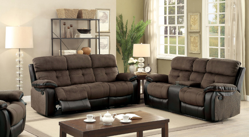 Furniture of america CM6870 2 pc Hadley I brown champion fabric espresso leatherette sofa and love seat with recliner ends