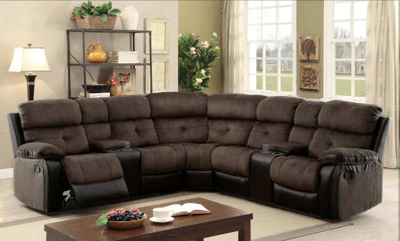 Furniture of america CM6871 3 pc hadley ii two tone brown and espresso fabric and leatherette sectional with recliners
