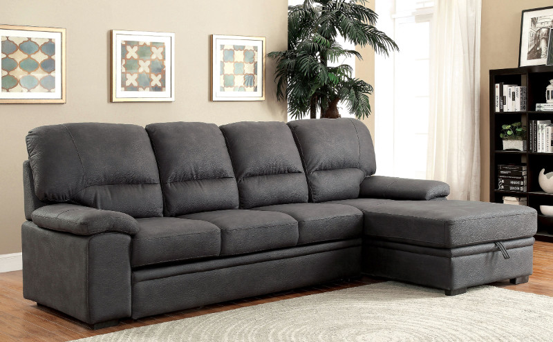 Furniture of america CM6908BK 2 pc alcester graphite faux nubuck fabric sectional sofa set