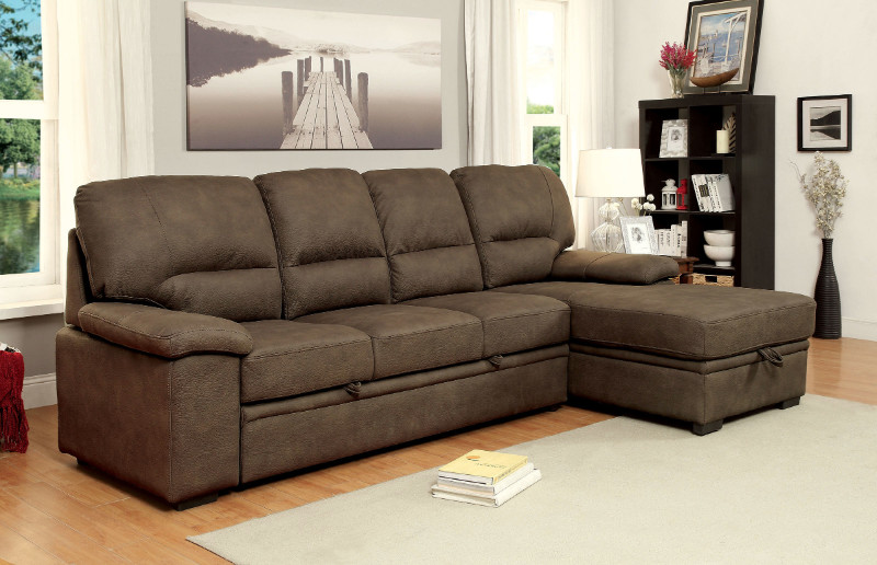 CM6908BR 2 pc Alcester collection ash brown premium fabric upholstered contemporary style sectional sofa set