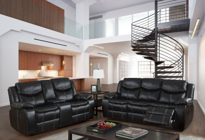 Furniture of america CM6981 2 pc gatria black breathable leatherette sofa and love seat with recliner ends