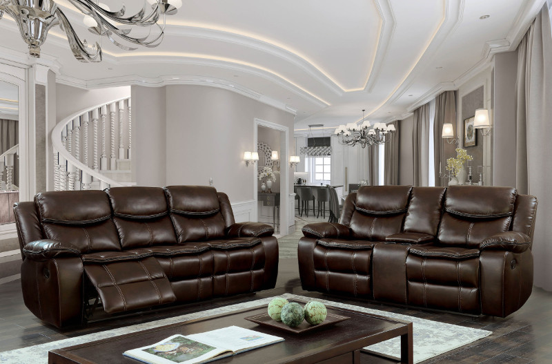 Furniture of america CM6981BR 2 pc gatria brown breathable leatherette sofa and love seat with recliner ends