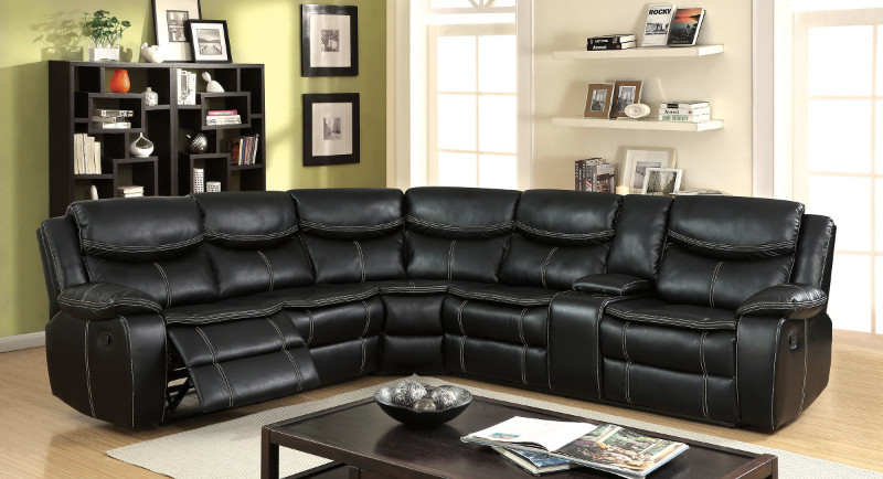 Furniture of america CM6982 3 pc gatria ii black breathable leatherette sectional sofa with recliner ends