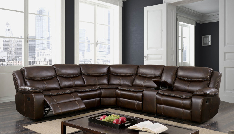 Furniture of america CM6982BR 3 pc pollux brown breathable leatherette sectional sofa with recliner ends