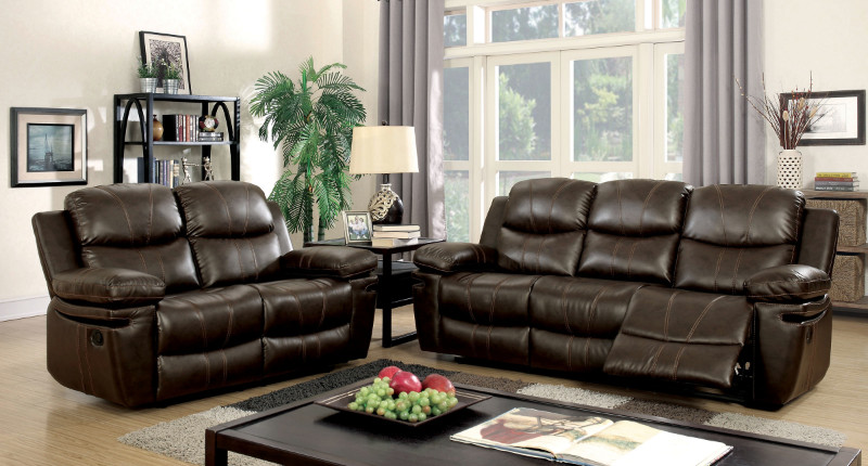 Furniture of america CM6992 2 pc listowel brown bonded leather match sofa and love seat with recliners