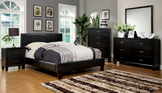 CM7008Q 5 pc. winn park espresso finish leatherette platform bedroom set