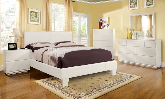CM7008WH 5 pc winn park white leather like vinyl upholstered contemporary style platform queen bedroom set
