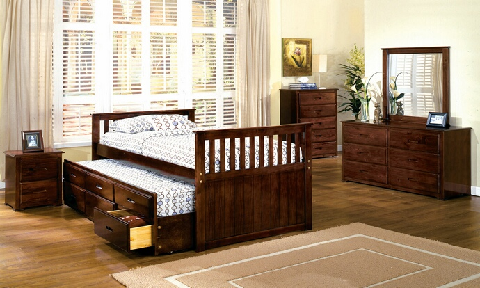 CM7031 5 pc Montana II Cherry Wood Finish Twin Mission Style Platform Bedroom Set