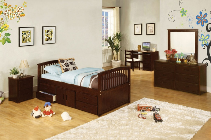 CM7032-524 Caballero dark walnut wood finish mission style platform captain twin size bed