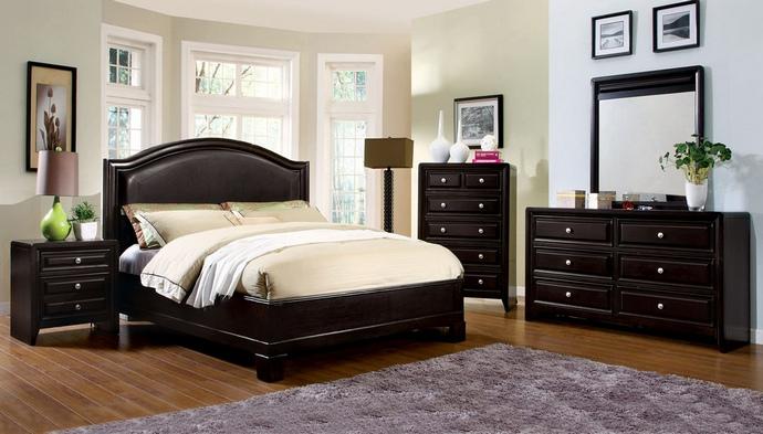 CM7058Q 5 pc Winsor Leatherette Headboard Platform Queen Bedroom Set in Espresso Finish Wood