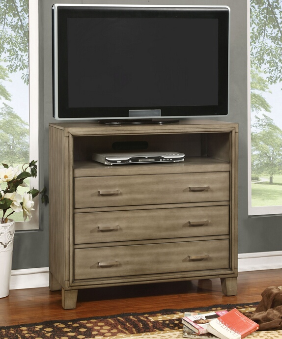 CM7068GY-TV Enrico collection contemporary style silver gray finish wood TV console media chest