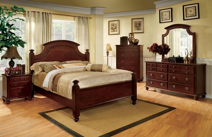 CM7083 5 pc Gabrielle II elegant european style cherry finish wood queen bedroom set with ornamental cap headboard and footboard