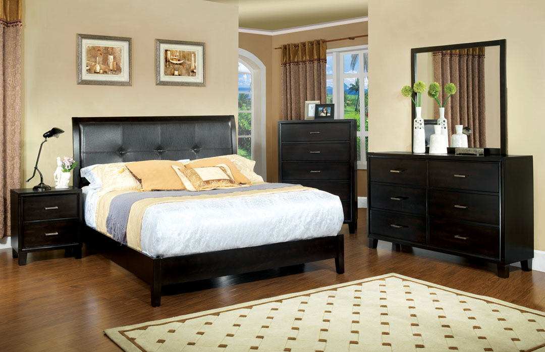 CM7088Q 5 pc. enrico i ex contemporary style espresso wood finish queen platform bedroom set