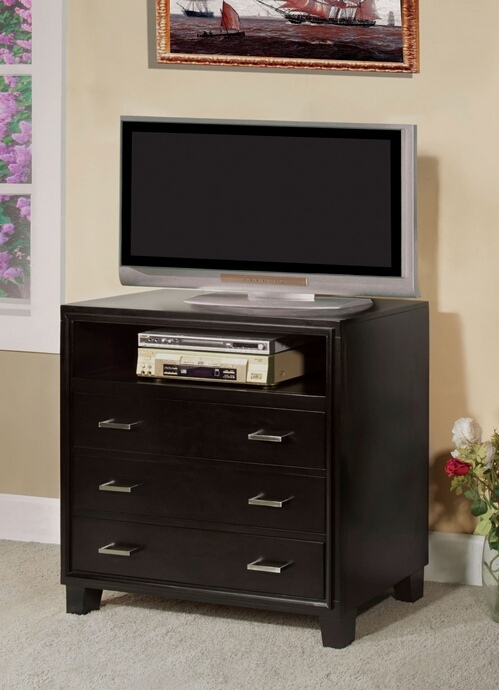 CM7088TV Enrico collection contemporary style espresso finish wood TV console media chest