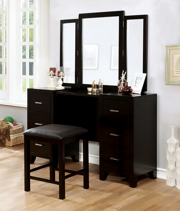 Cm7088v Enrico Collection Espresso Finish Wood Bedroom Make Up Vanity Set
