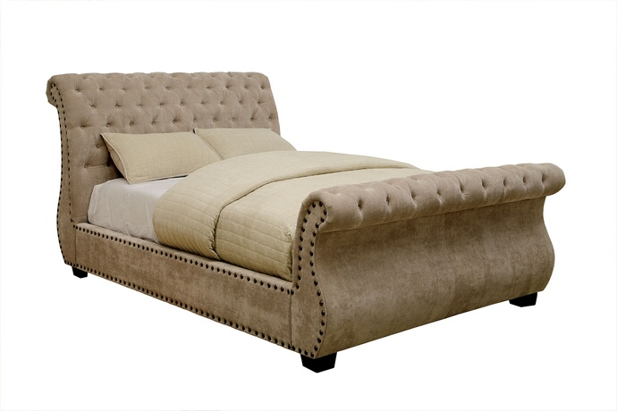 CM7127 Noemi collection mocha padded corduroy fabric upholstered sleigh bed design button tufted queen bed set