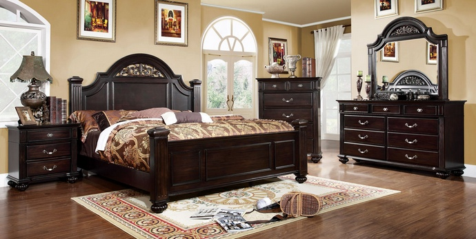 CM7129 5 Pc. Syracuse Dark Walnut Finish Classic Style Oval Headboard Poster Bed Queen Bed Set