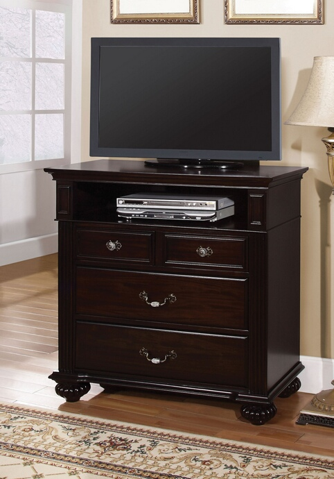 CM7129TV Syracuse collection contemporary style dark walnut finish wood TV console media chest