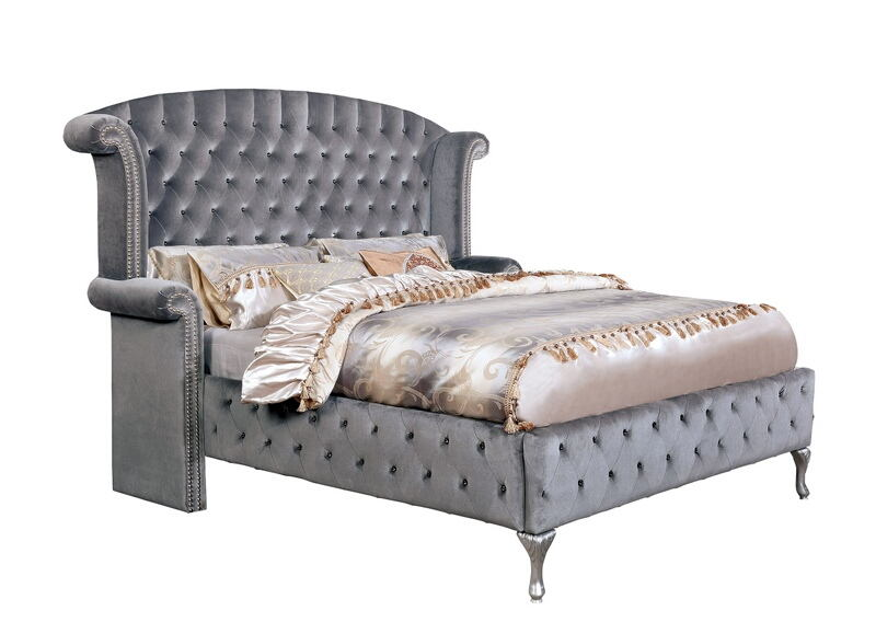 CM7150 Rosdorf park neilsen Betria gray padded and tufted flannelette queen bed set with nail head trim