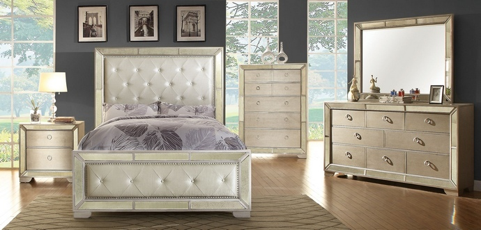 CM7195 5 pc Loraine silver finish wood with silver mirrored border and tufted headboard with nail head trim queen bedroom set