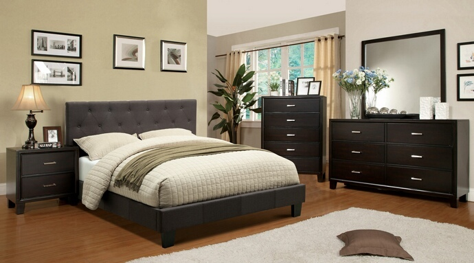 CM7200LB-CM7088 5 pc Leeroy collection gray padded fabric upholstered Contemporary Style Espresso Wood Finish Queen Platform Bedroom Set